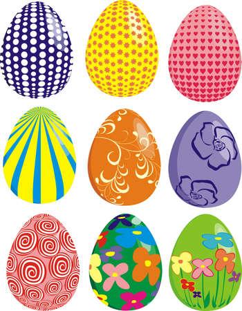 Set of easter eggs isolated on white background Illustration