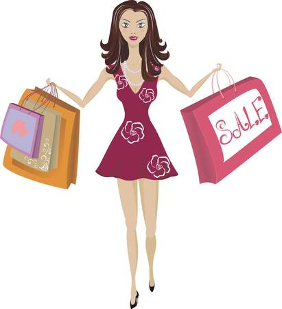Illustration of girl with shopping bags on the sales
