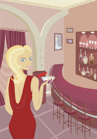 Pretty girl with cocktail in restaurant Vector