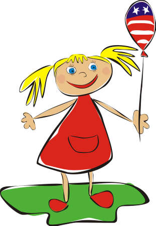 Girl with USA balloon  Children s drawing