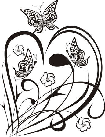 Black heart with butterfly and flower