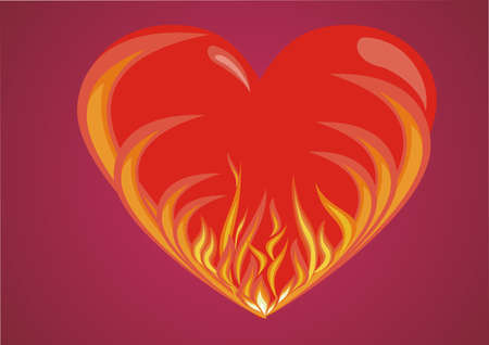 Abstract valentine s day card with fire heart background