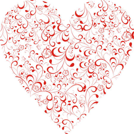 Red Scrolled floral shape of heart