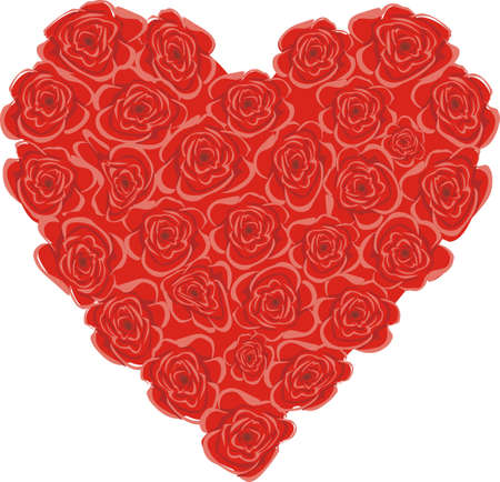 Heart made from red roses isolated on white background Illustration