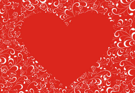 Heart surrounded with flowers on a red background