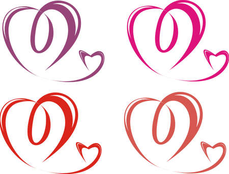 Four pairs hearts isolated on a white background Illustration