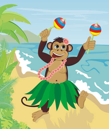 Exotic cute dancing monkey on beach Vector