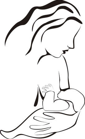 Silhouette of young woman breastfeeding her baby