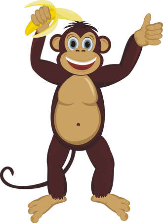 Monkey with banana Illustration