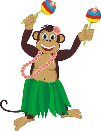 baile caricatura: Exotic mono bailarín lindo con maracas Vectores