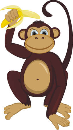 cute cartoon monkey: Monkey with banana Illustration