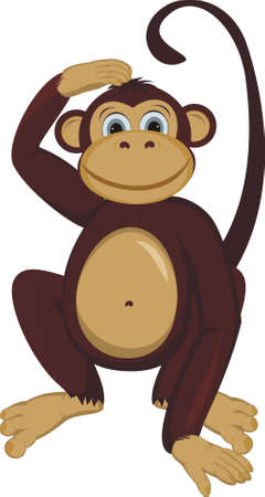 cartoon monkey: Monkey scratching a nape Illustration