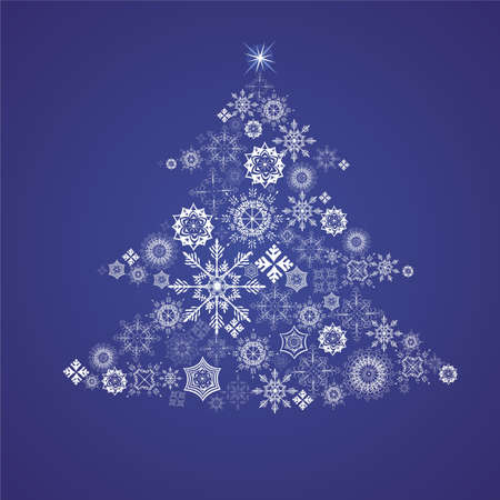 Christmas fur-tree from snowflakes on blue background