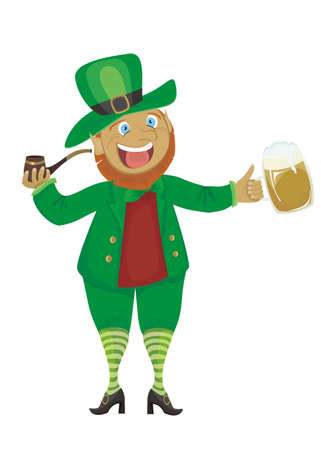patric: Leprechaun with a pipe and beer isolated on a white background