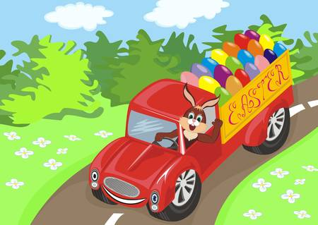 Bunny driving car with easter eggs