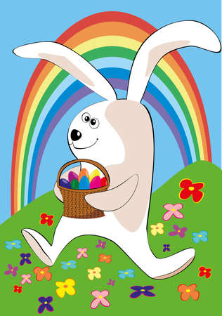 The easter rabbit bearing a basket of Easter eggs