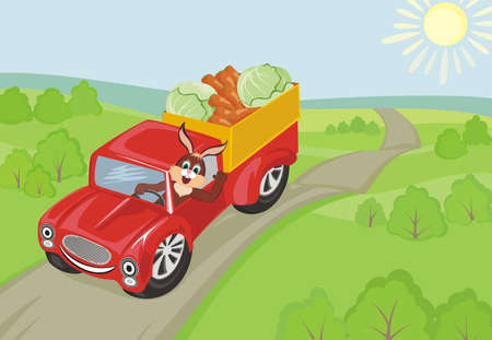 Rabbit carrying carrots and cabbage in the red car Vector