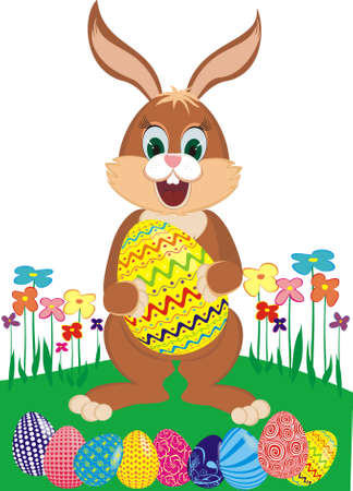 Easter bunny with colorful eggs on a flower glade Illustration