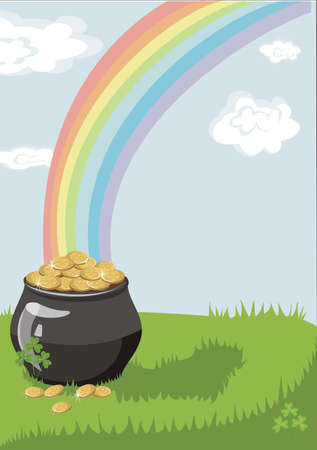 A pot of gold at the end of the rainbow with a colorful background and a place for text or imagery Vector