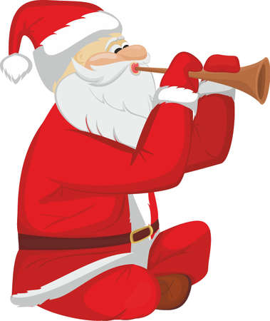 Santa Claus plaing on pipe