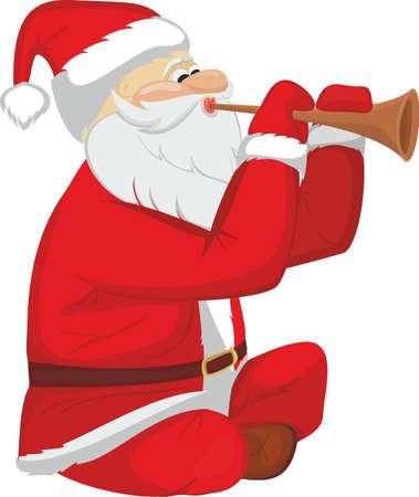 Santa Claus plaing on pipe