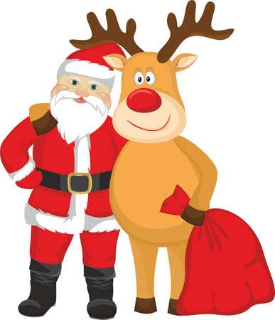 Christmas Santa Claus and deer Illustration