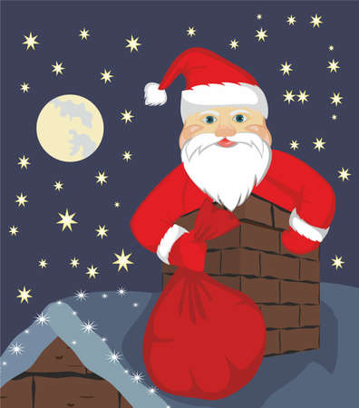 Santa Claus In Chimney Stock Vector - 19162749