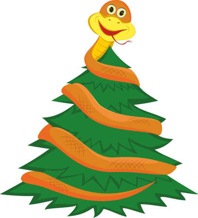 The snake twists a fir-tree Illustration
