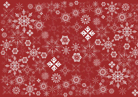 Snowflakes on a red background Illustration