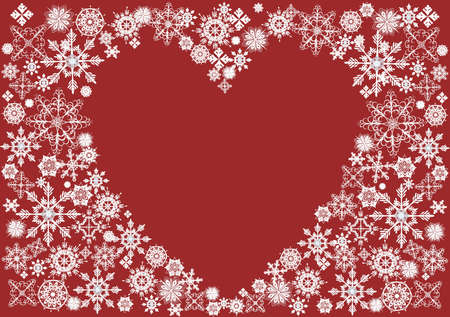 Heart surrounded with snowflakes on a red background Illustration