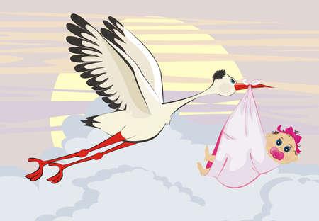 stork flying with bundle: A cartoon illustration of a stork delivering a newborn baby girl