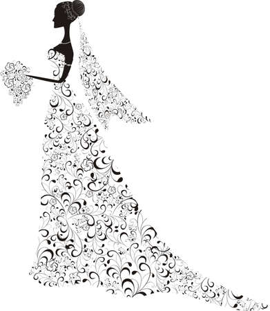 wedding dress silhouette: Beautiful bride with floral dress and veil
