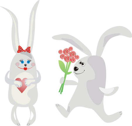 Rabbit running to favourite with a bouquet of roses