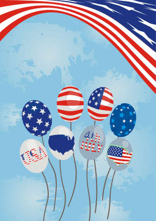 American abstract background with ballons by an Independence Day