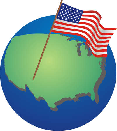 The USA on the globe with national flag