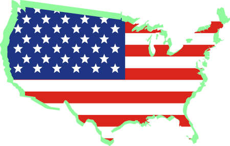 USA National flag on map