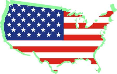 USA National flag on map