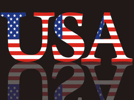 Abbreviation of the USA with national colors on a black mirror background