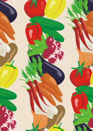 Vegetable background and seamless pattern