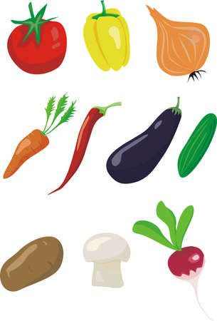 Set of various vegetables isolated on a white background