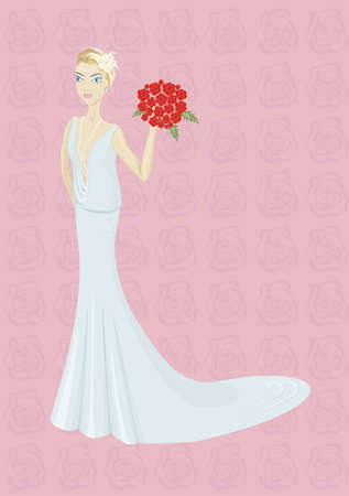 Happy beautiful young bride with bouquet Illustration