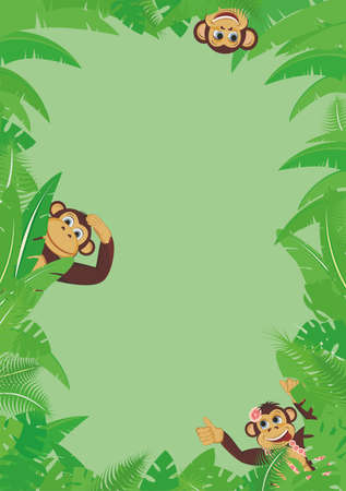 Frame from tropical leaf with three monkeys