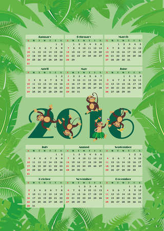 Calendar for 2016 amid tropical foliage and monkeys