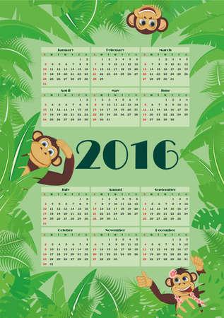 Calendar for 2016 amid tropical foliage and monkeys