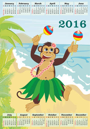 Exotic cute dancing monkey on beach. Calendar for 2016 Ilustrace