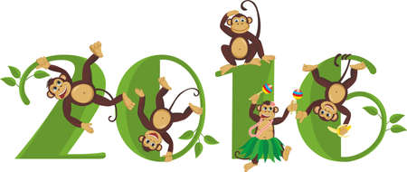 2016 year of the monkey. Monkeys frolic on the figure in 2016 Ilustrace