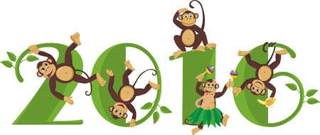 frolic: 2016 year of the monkey. Monkeys frolic on the figure in 2016 Illustration