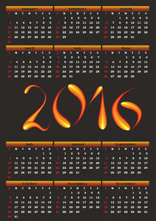 Calendar for 2016. Fiery figures on a black background