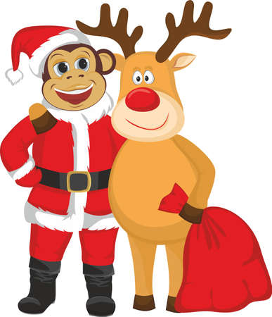 santa suit: The monkey in the Santa suit and reindeer Illustration