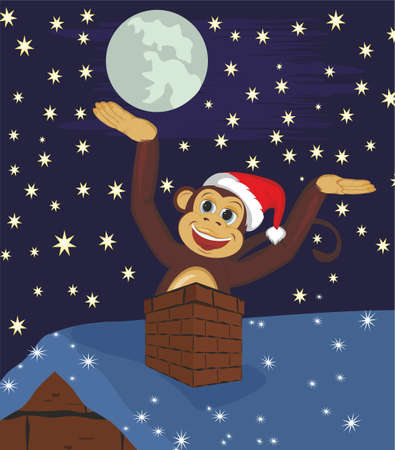 climbed: The monkey climbed out of the chimney on the roof Illustration